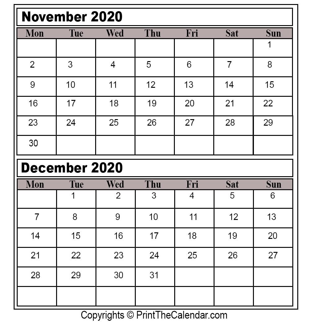 Printable Calendar November December 2020