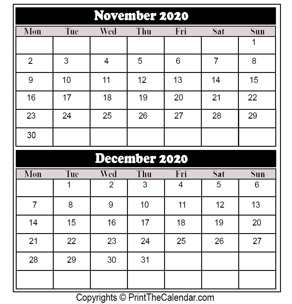 November December 2020 Calendar Printable