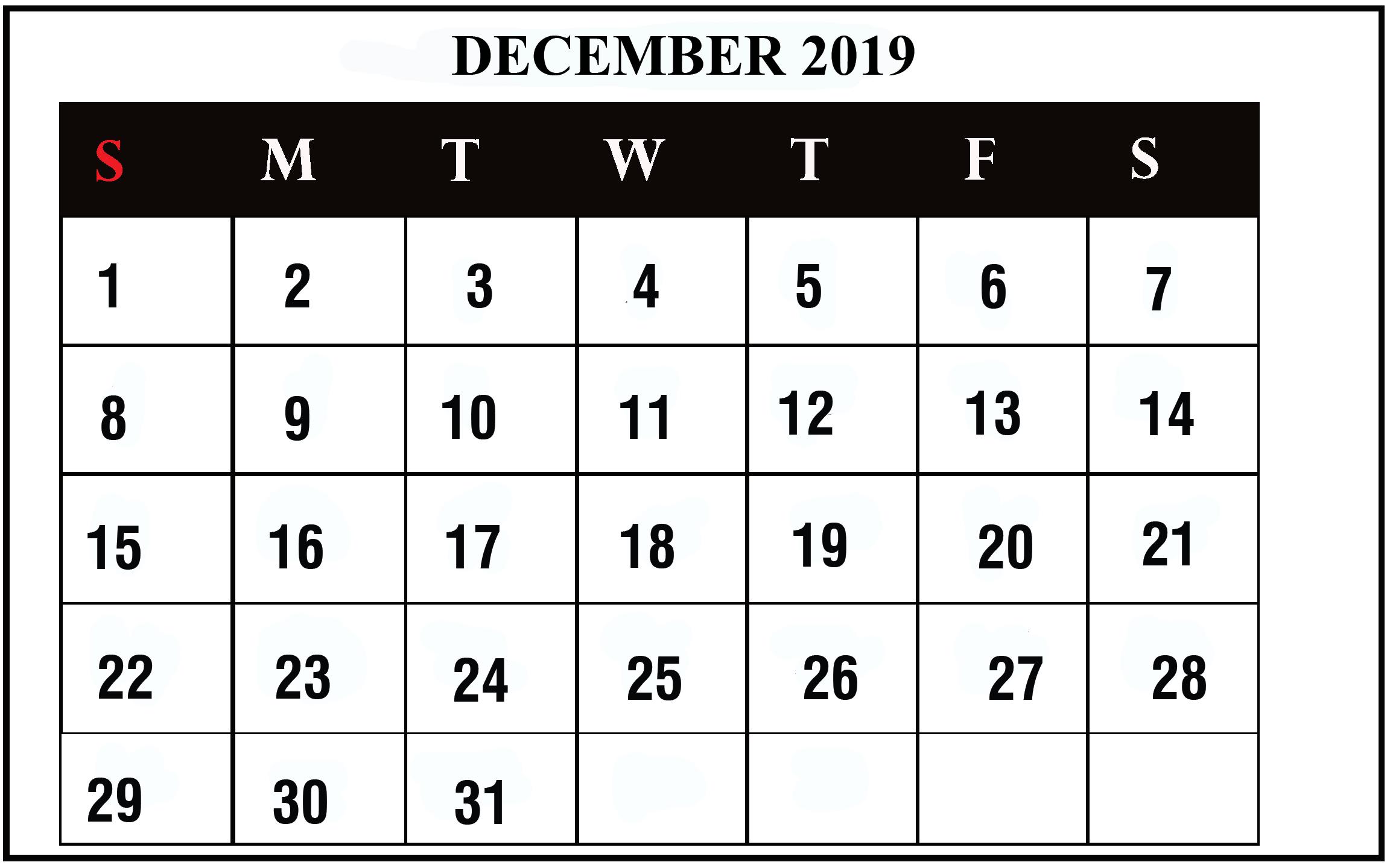 photograph about Dec Printable Calendar referred to as December 2019 Calendar Printable December Blank Calendar