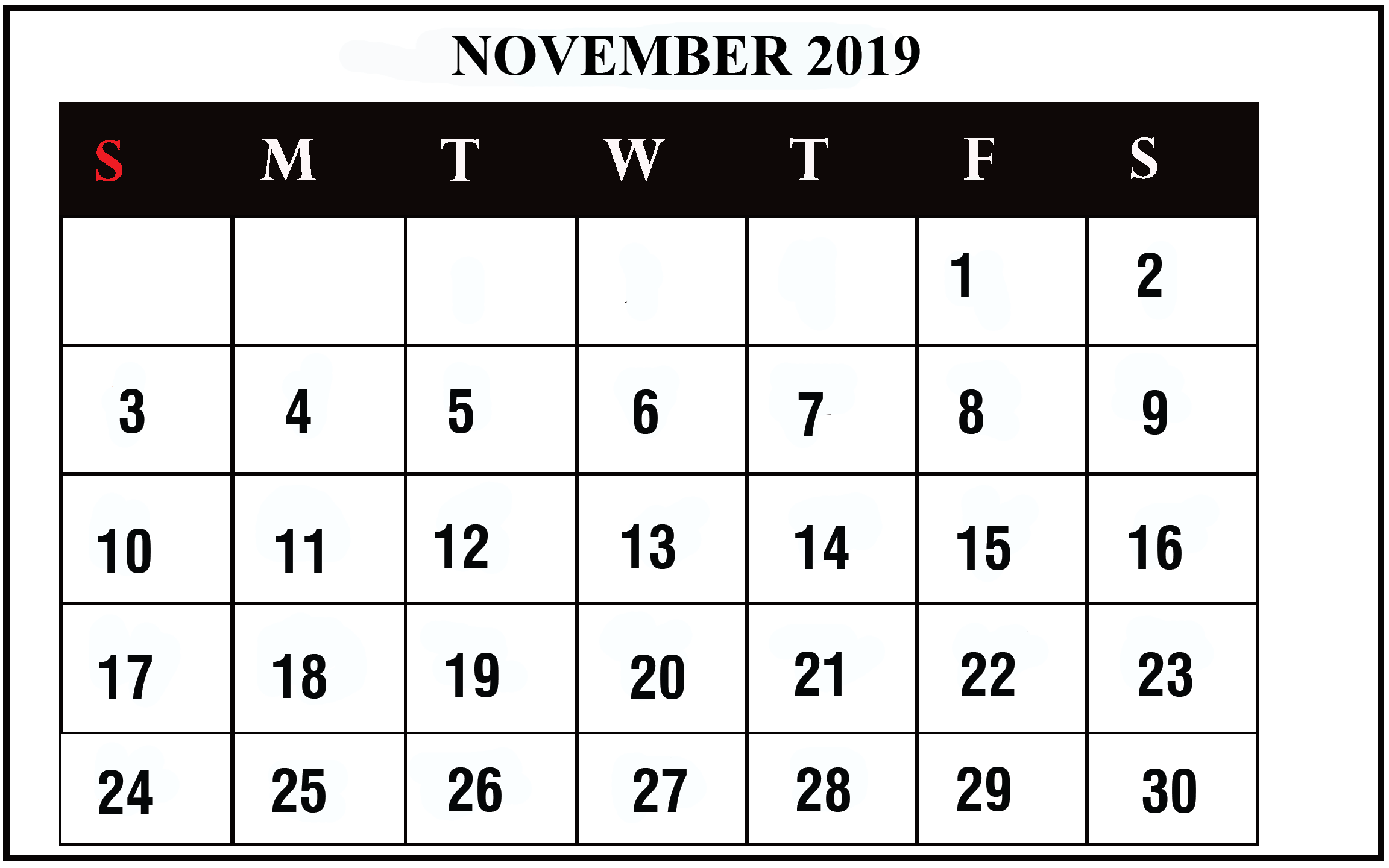 graphic about November Printable Calendar identify November 2019 Calendar Printable November Blank Calendar