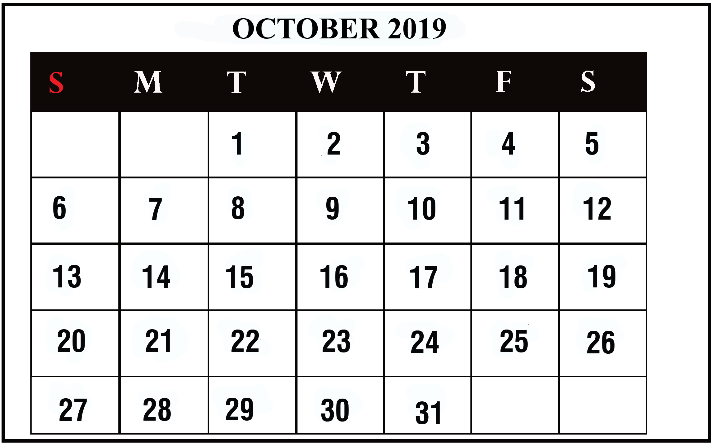 image about Printable Oct Calendar named Oct 2019 Calendar Printable Oct Blank Calendar