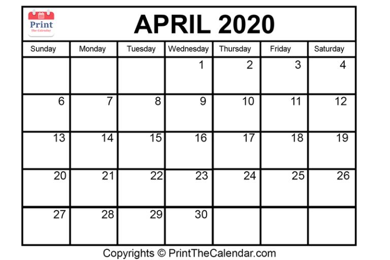 😃[Free}*^ April 2020 Printable Calendar for Word, Excel & PDF