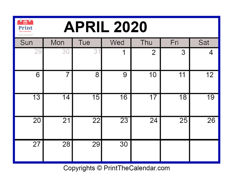photograph relating to April Free Printable Calendar identify April 2020 Calendar Printable April Blank Calendar Template