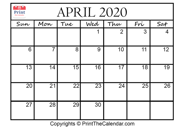 Month April Calendar in Year 2020