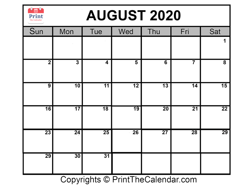 Calendar August 2020 Printable.August 2020 Calendar Printable August Blank Calendar Template