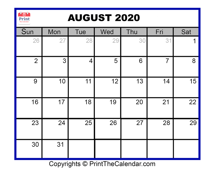 image about Free August Calendar Printable called August 2020 Calendar Printable August Blank Calendar Template