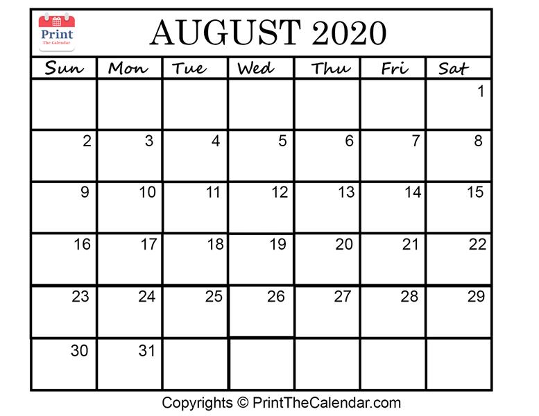 Month August Calendar in Year 2020