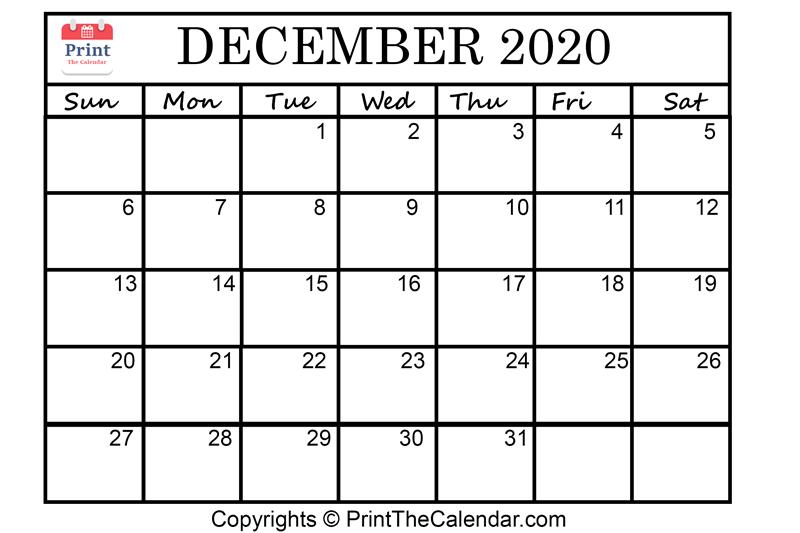 December Calendar 2020.December 2020 Calendar Printable December Blank Calendar Template