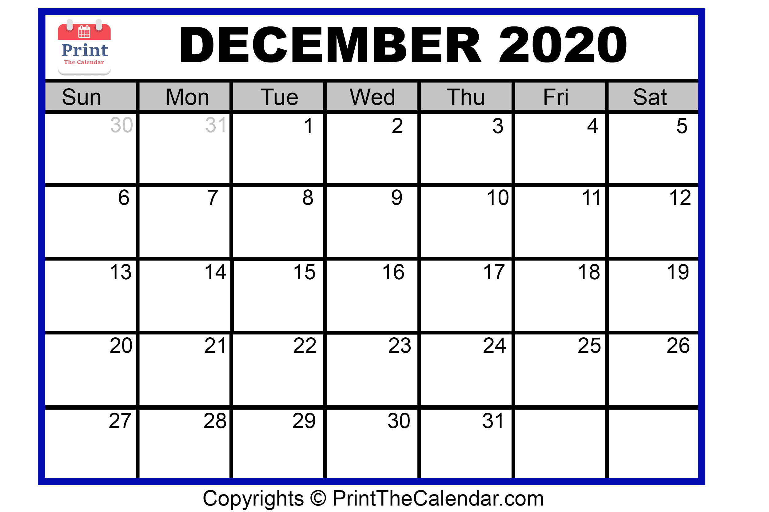 image relating to Printable Calendar Dec called December 2020 Calendar Printable December Blank Calendar