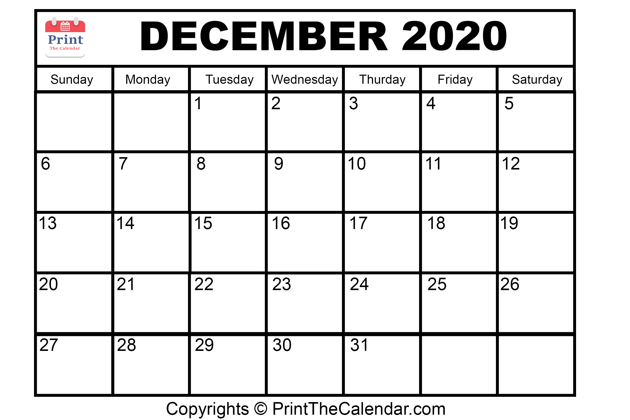 Month December Calendar in Year 2020