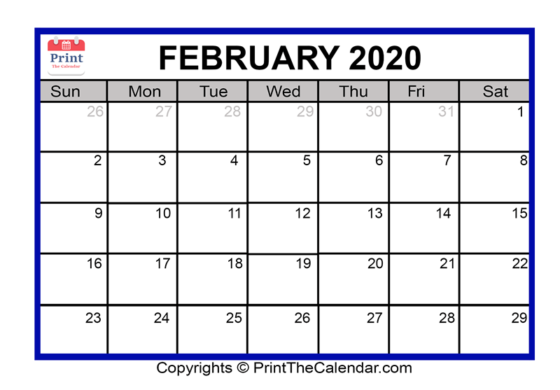 graphic relating to Printable February Calendar named February 2020 Calendar Printable February Blank Calendar