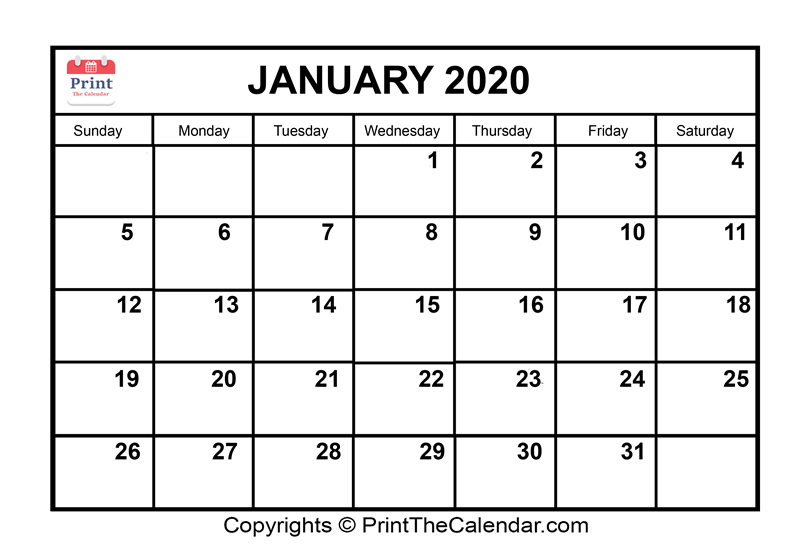 photograph relating to January Printable Calender identify January 2020 Calendar Printable January Blank Calendar