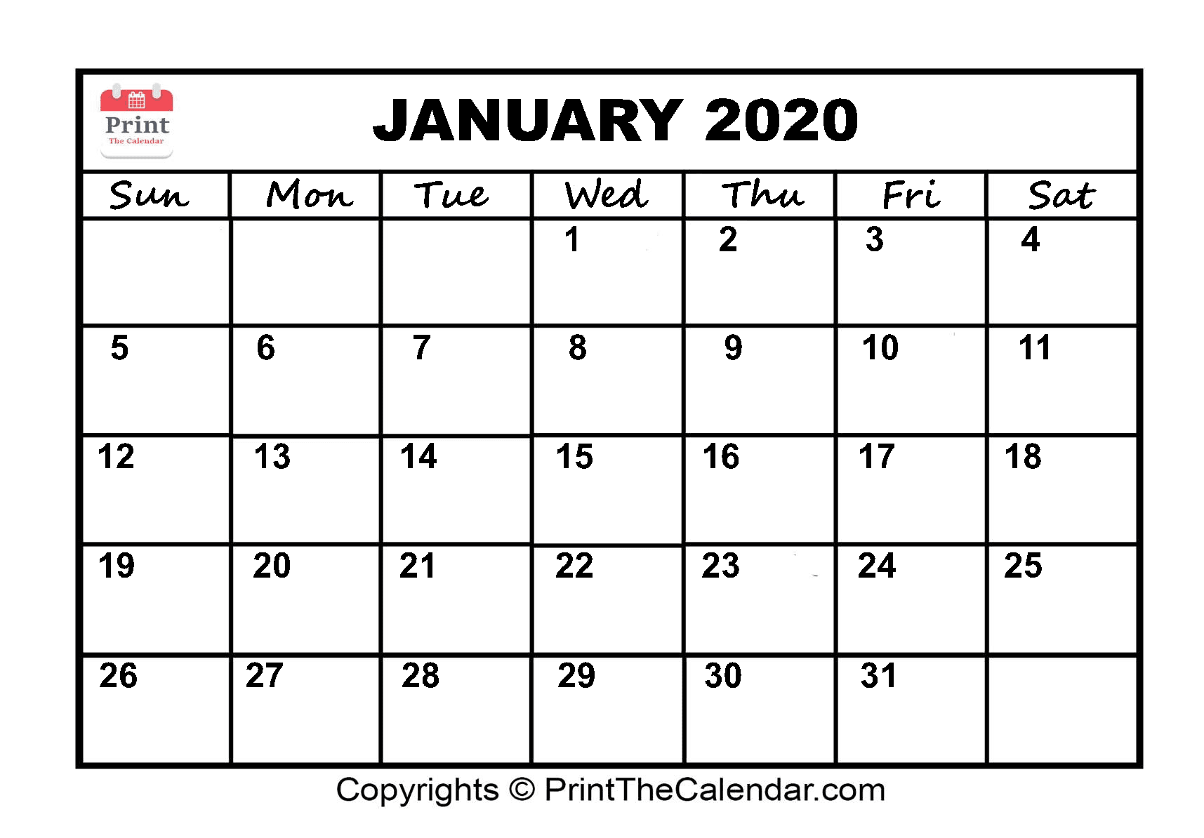 Month January Calendar in Year 2020