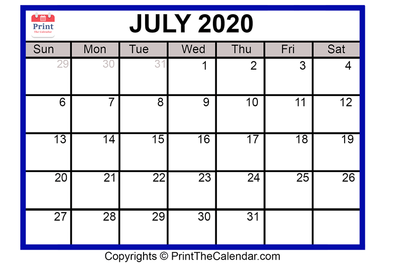 picture relating to Free Printable July Calendar called July 2020 Calendar Printable July Blank Calendar Template