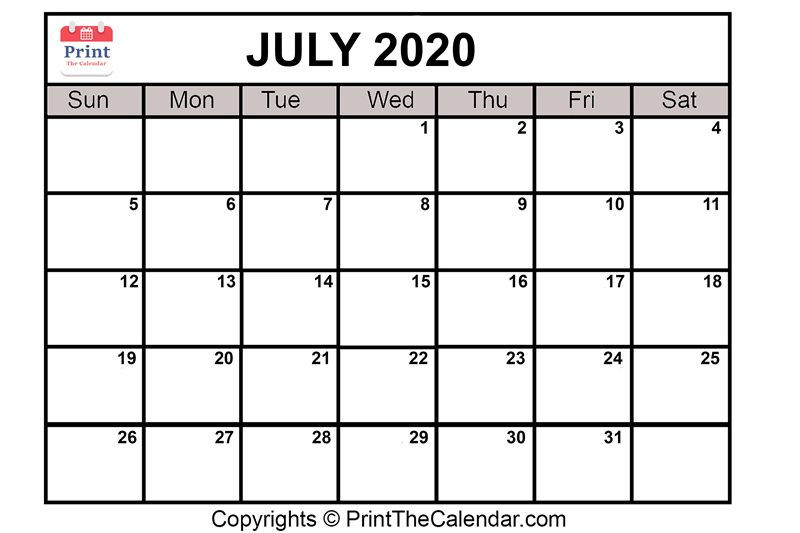 photo relating to July Calendar Printable referred to as July 2020 Calendar Printable July Blank Calendar Template