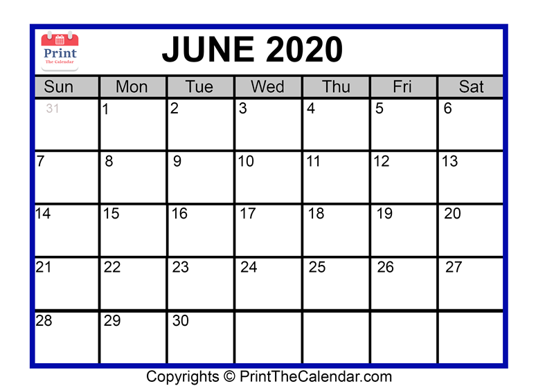 picture relating to Free Printable June Calendar named June 2020 Calendar Printable June Blank Calendar Template