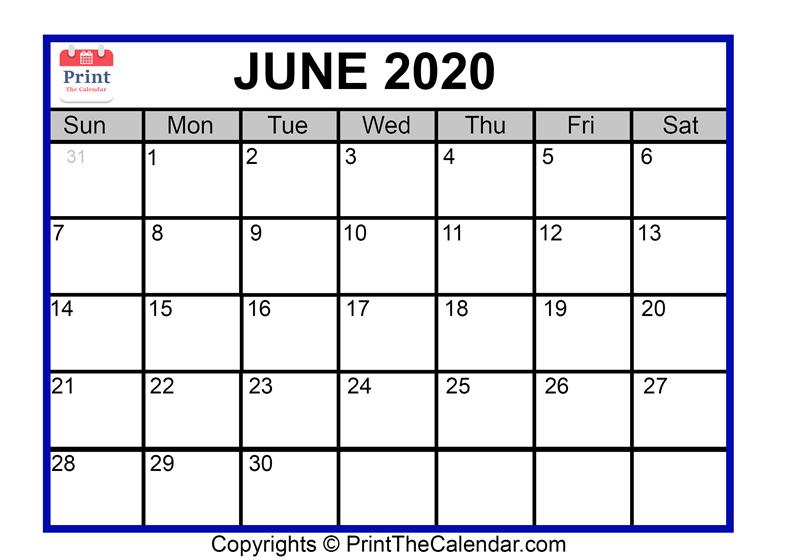 picture regarding Printable June Calendars called June 2020 Calendar Printable June Blank Calendar Template