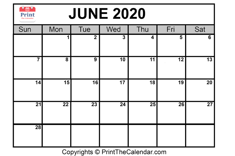graphic about June Calendar Printable known as June 2020 Calendar Printable June Blank Calendar Template
