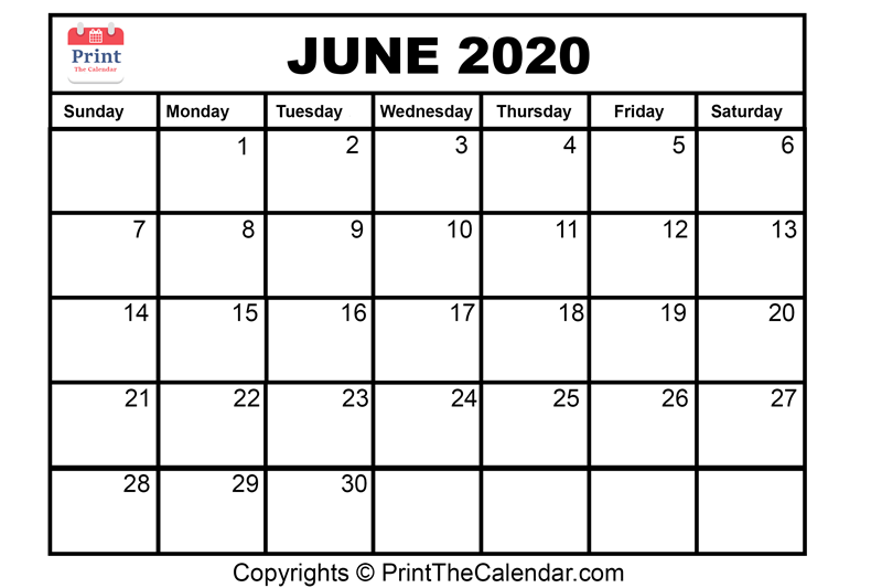 Month June Calendar in Year 2020