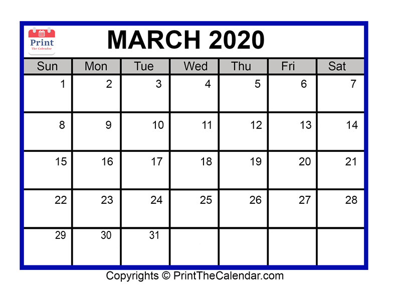 image about Free Printable March Calendar referred to as March 2020 Calendar Printable March Blank Calendar Template