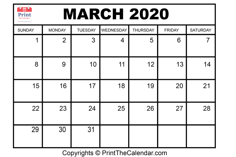Month March Calendar in Year 2020