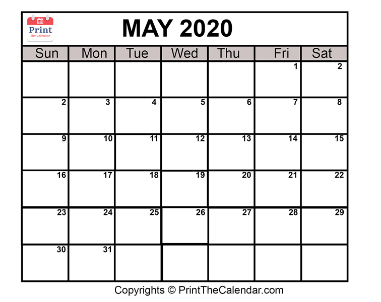 photo relating to Printable May Calendars called Could 2020 Calendar Printable Could possibly Blank Calendar Template