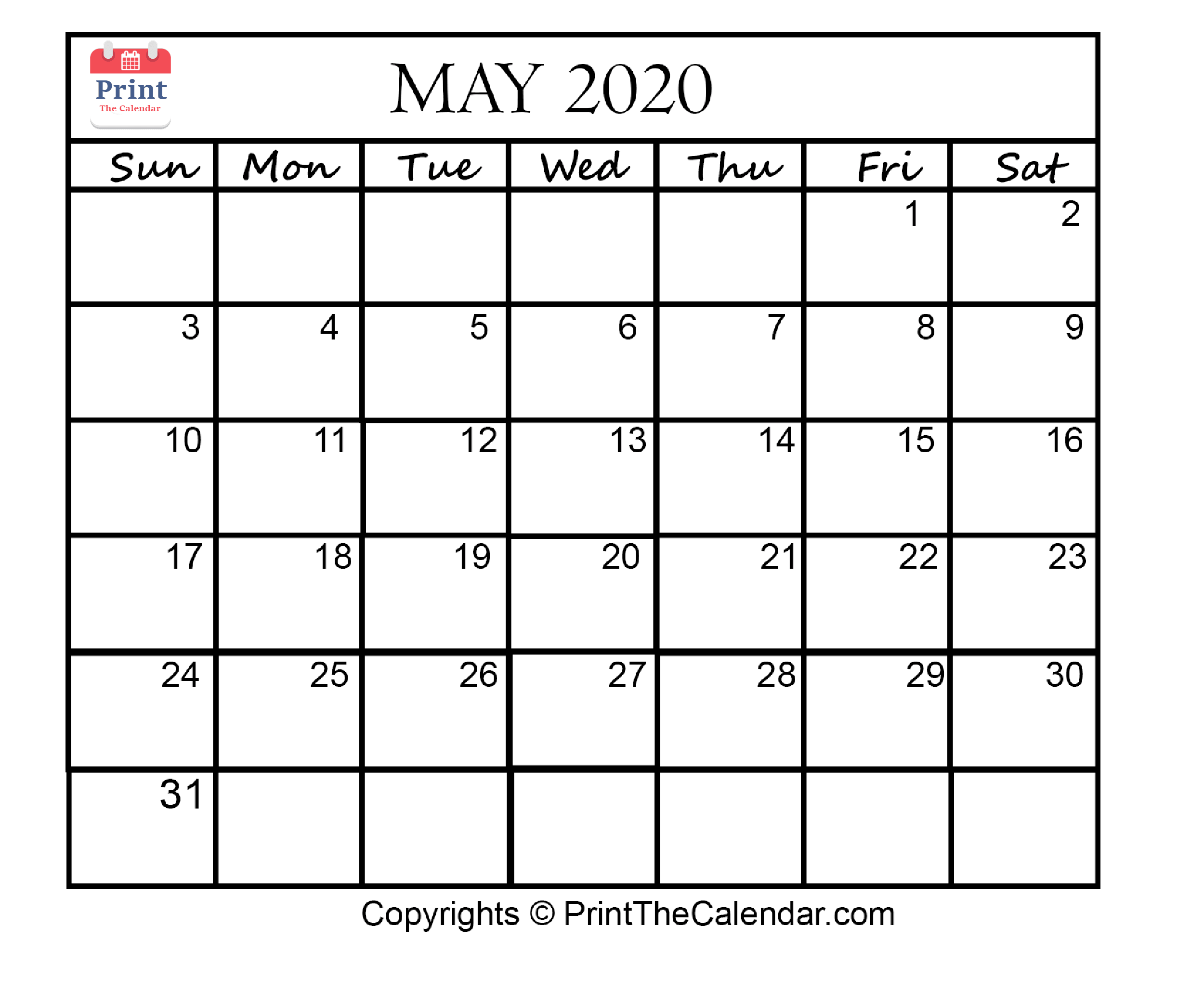 picture about Printable Calendars May identify Might 2020 Calendar Printable May well Blank Calendar Template