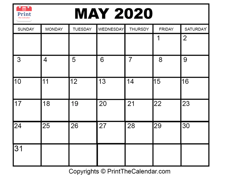 Month May Calendar in Year 2020