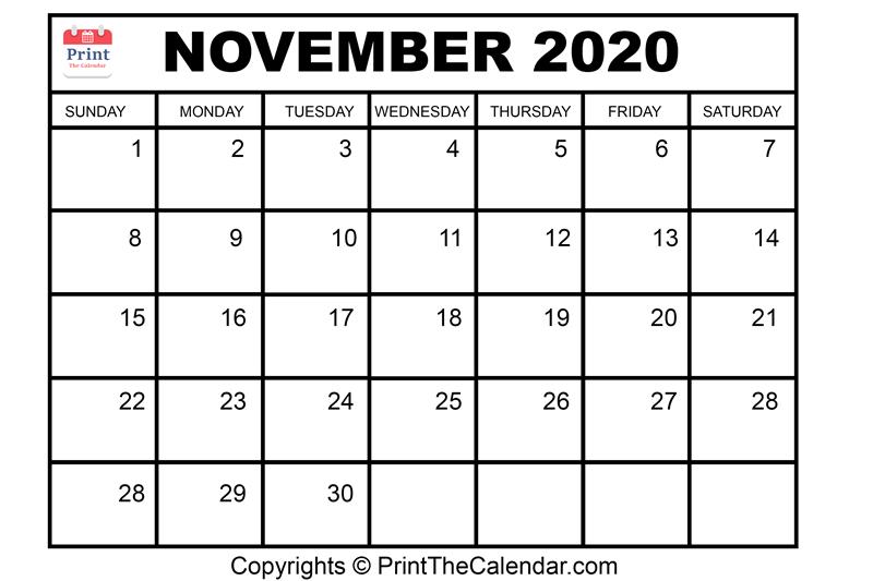 Month November Calendar in Year 2020