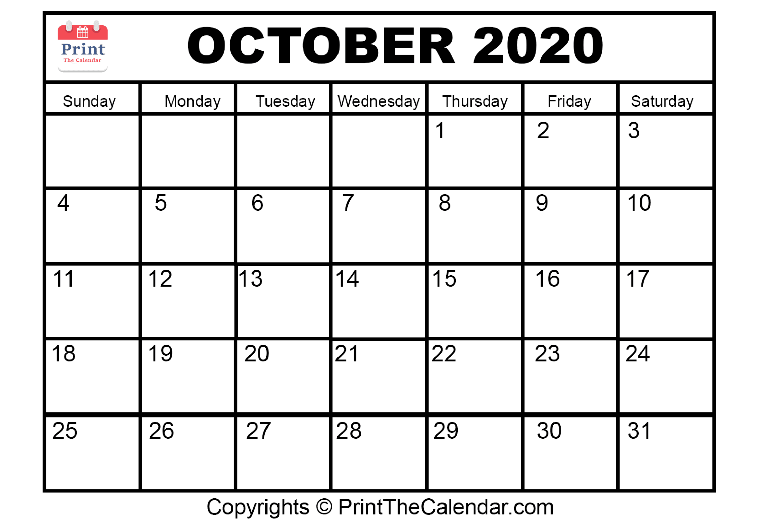 Month October Calendar in Year 2020