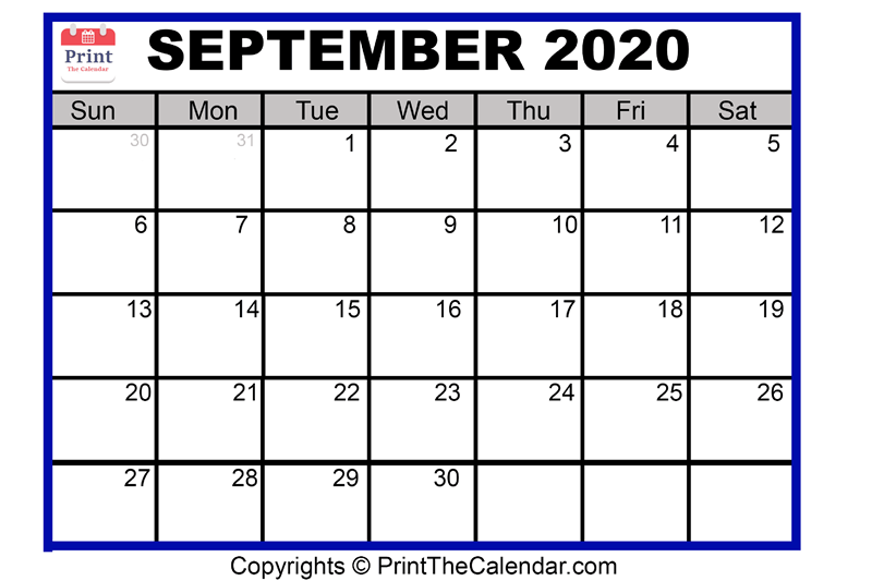 image about September Printable Calendar referred to as September 2020 Calendar Printable September Blank Calendar