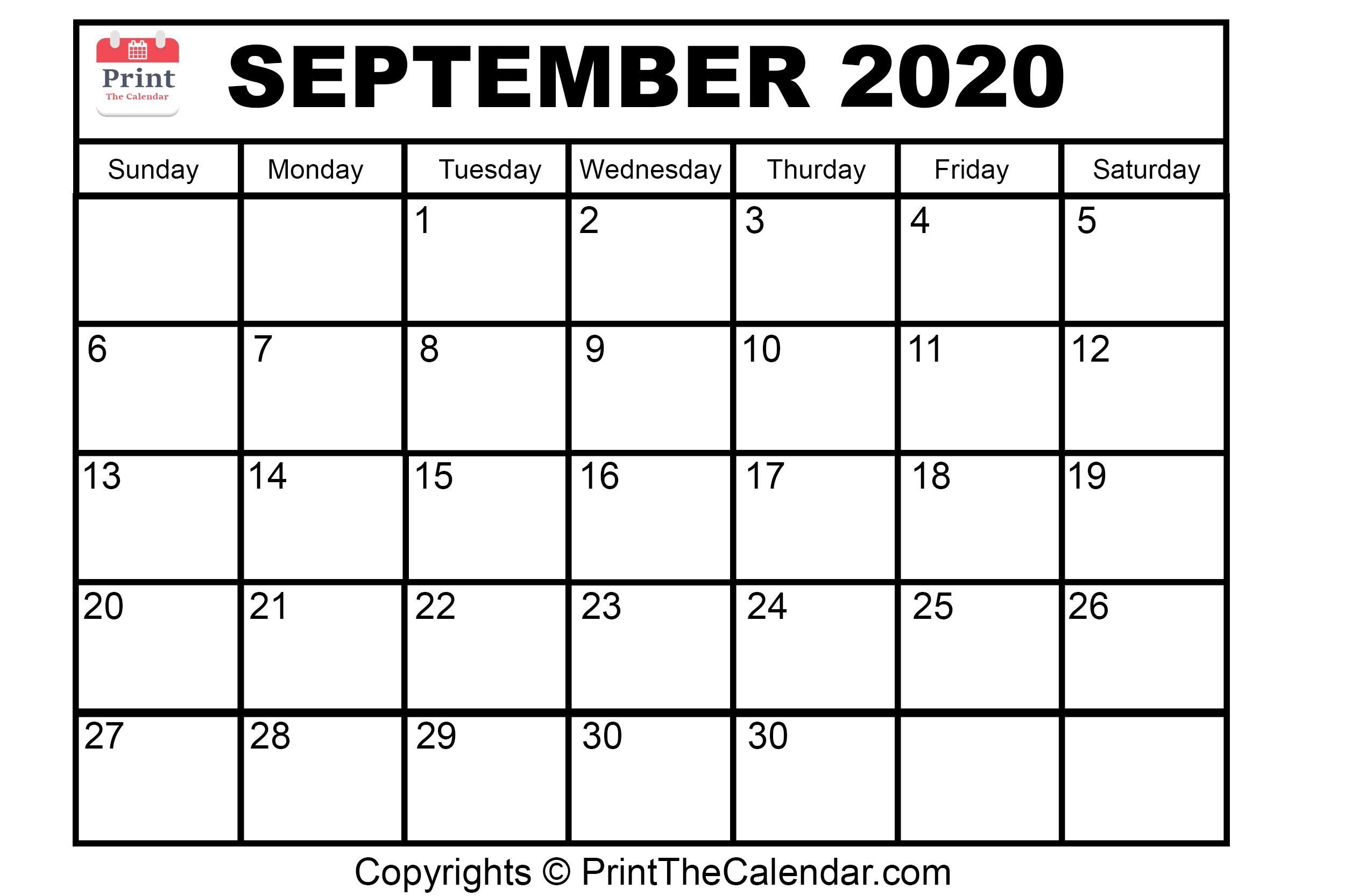 Month September Calendar in Year 2020