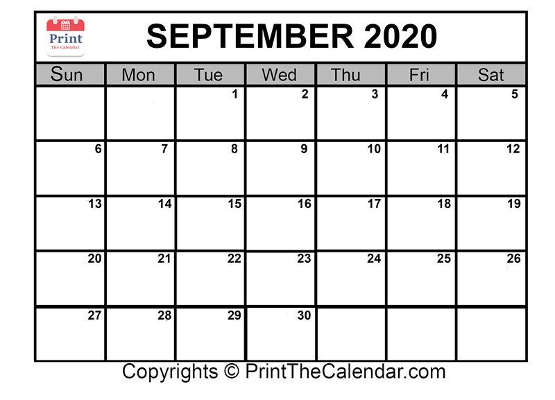 September Calendar 2020 Printable.Free September 2020 Printable Calendar For Word Excel