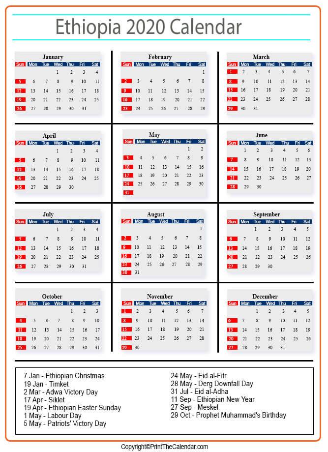 Ethiopian Calendar 2022.Ethiopia Holidays 2020 2020 Calendar With Ethiopia Holidays