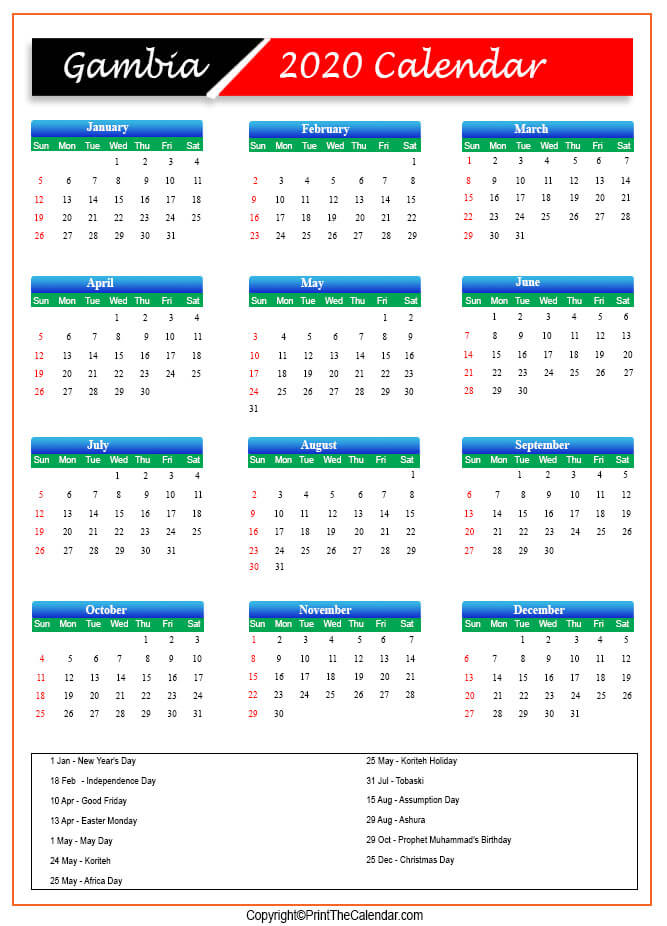 Gambia Public Holidays 2020