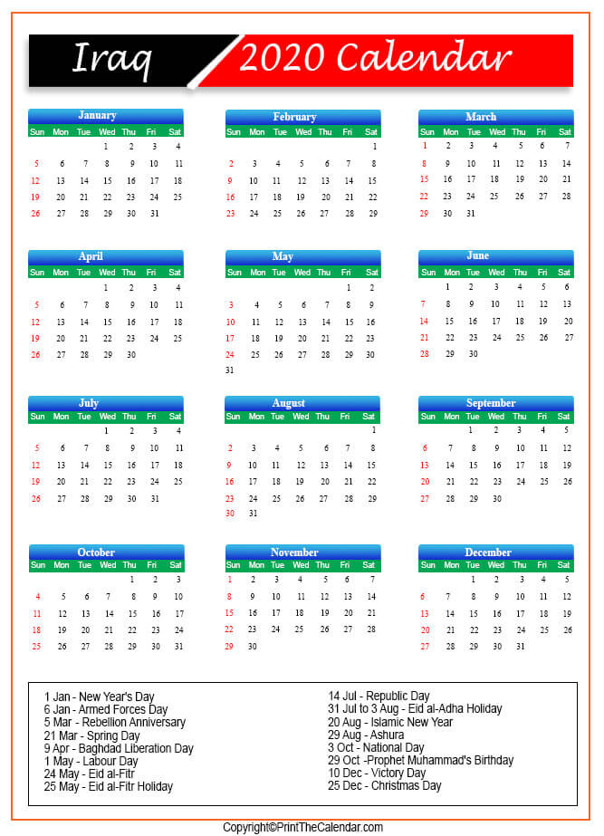 Iraq Public Holidays 2020