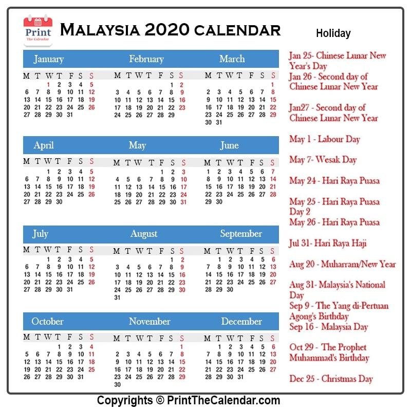 Malaysia Holidays 2020 2020 Calendar With Malaysia Holidays