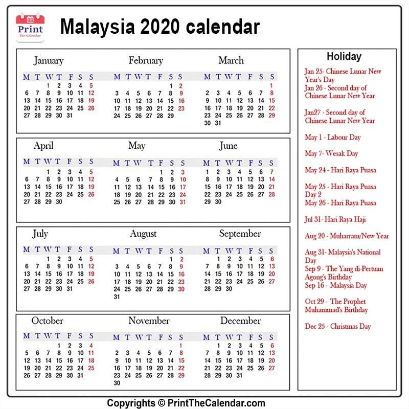 2020 Holiday Calendar Malaysia Malaysia 2020 Holidays