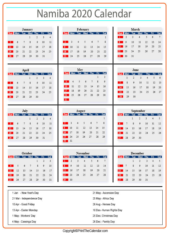 2020 Holiday Calendar Namibia Namibia 2020 Holidays