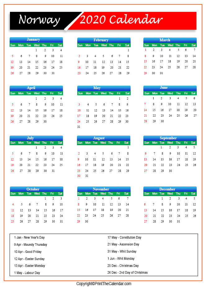 Norway Public Holidays 2020
