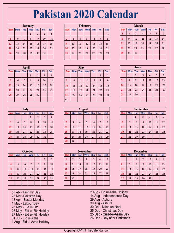 Pakistan Printable Calendar 2020
