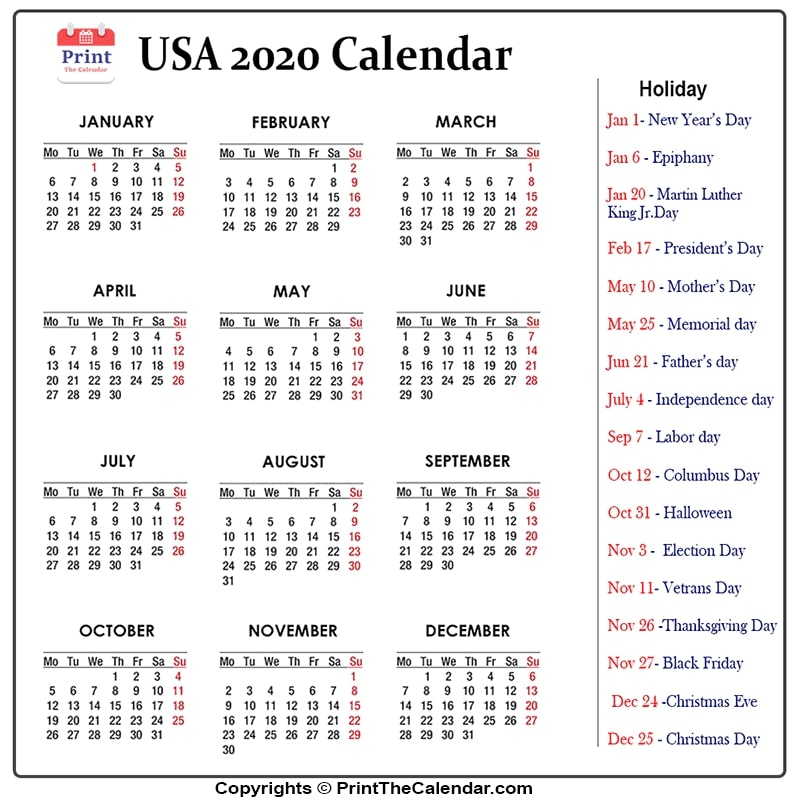 Us Holidays 2020