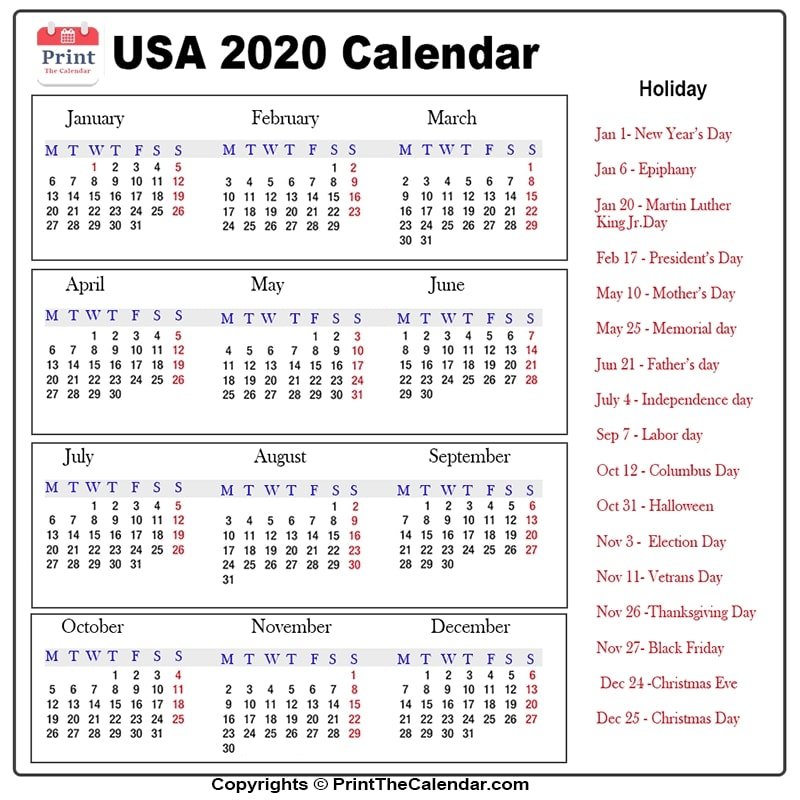 Us Public Holidays 2020