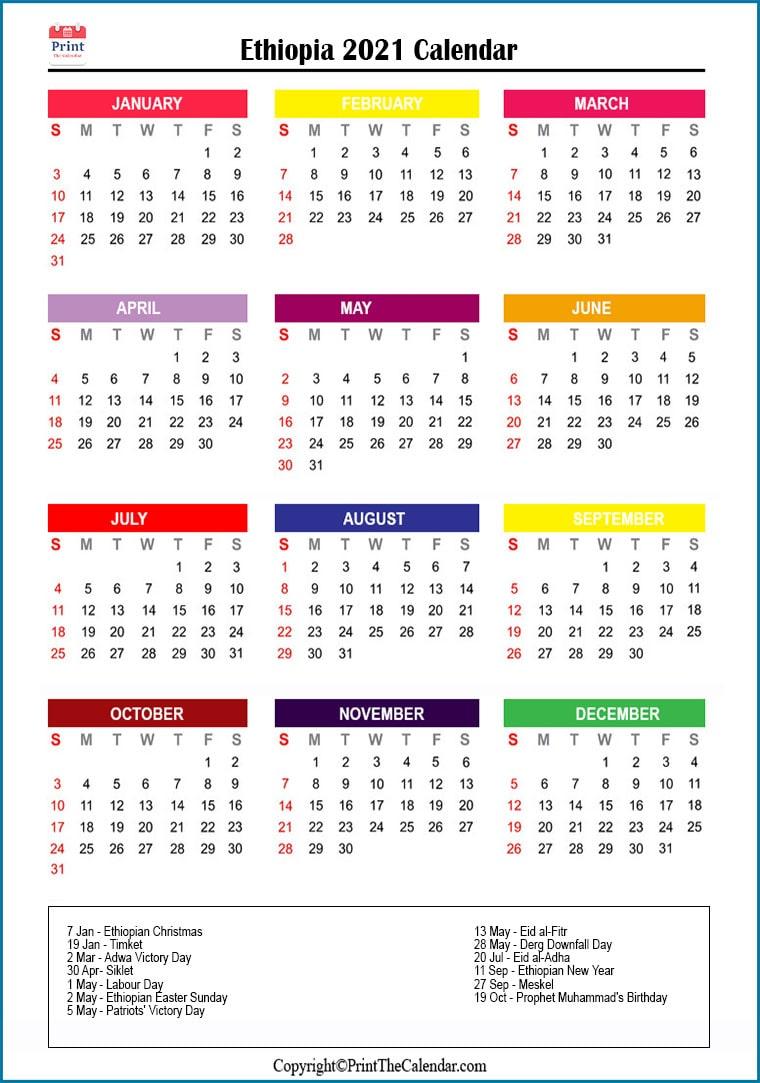 Ethiopia Holidays 2021 2021 Calendar With Ethiopia Holidays