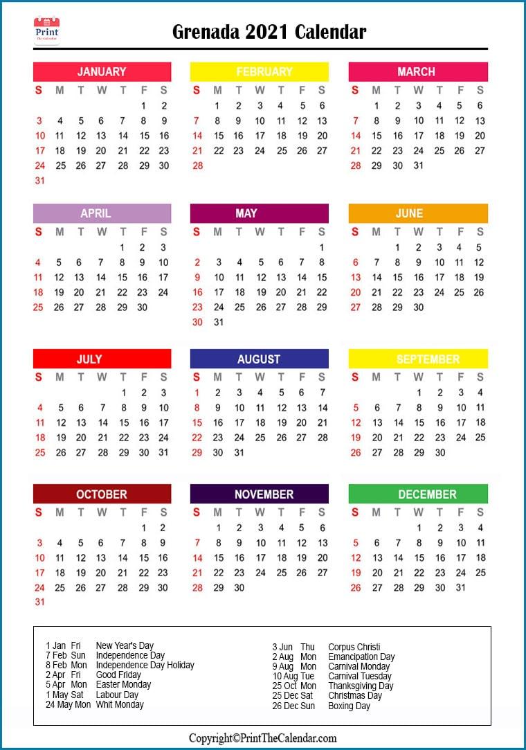 Grenada Holidays 2021 2021 Calendar with Grenada Holidays