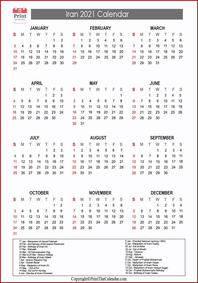 Persian Calendar 2022.2021 Holiday Calendar Iran Iran 2021 Holidays