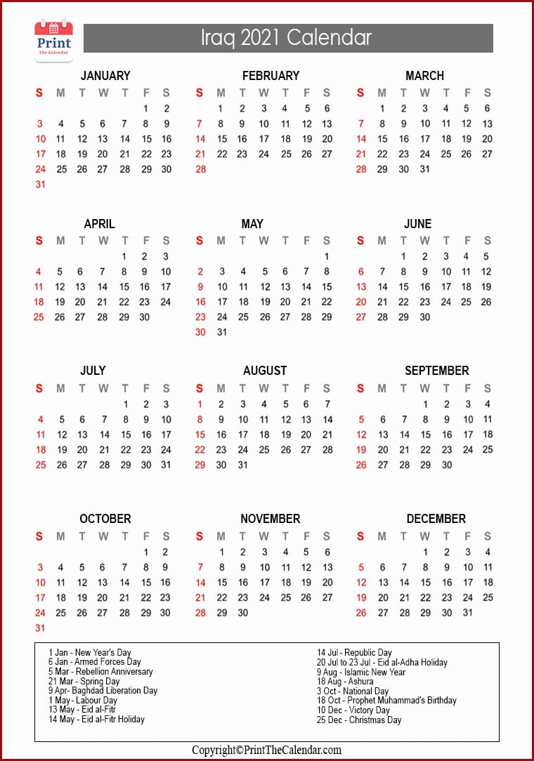 Iraq Holidays 2021 2021 Calendar with Iraq Holidays