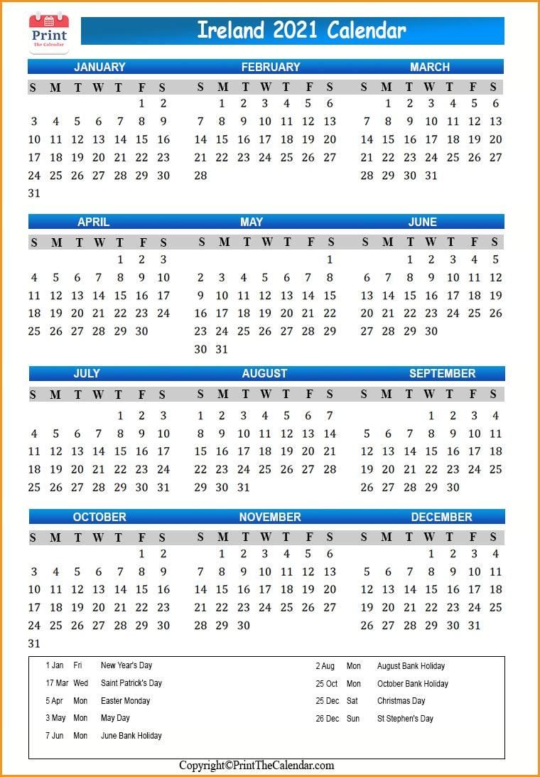 Ireland Holidays 2021 2021 Calendar with Ireland Holidays
