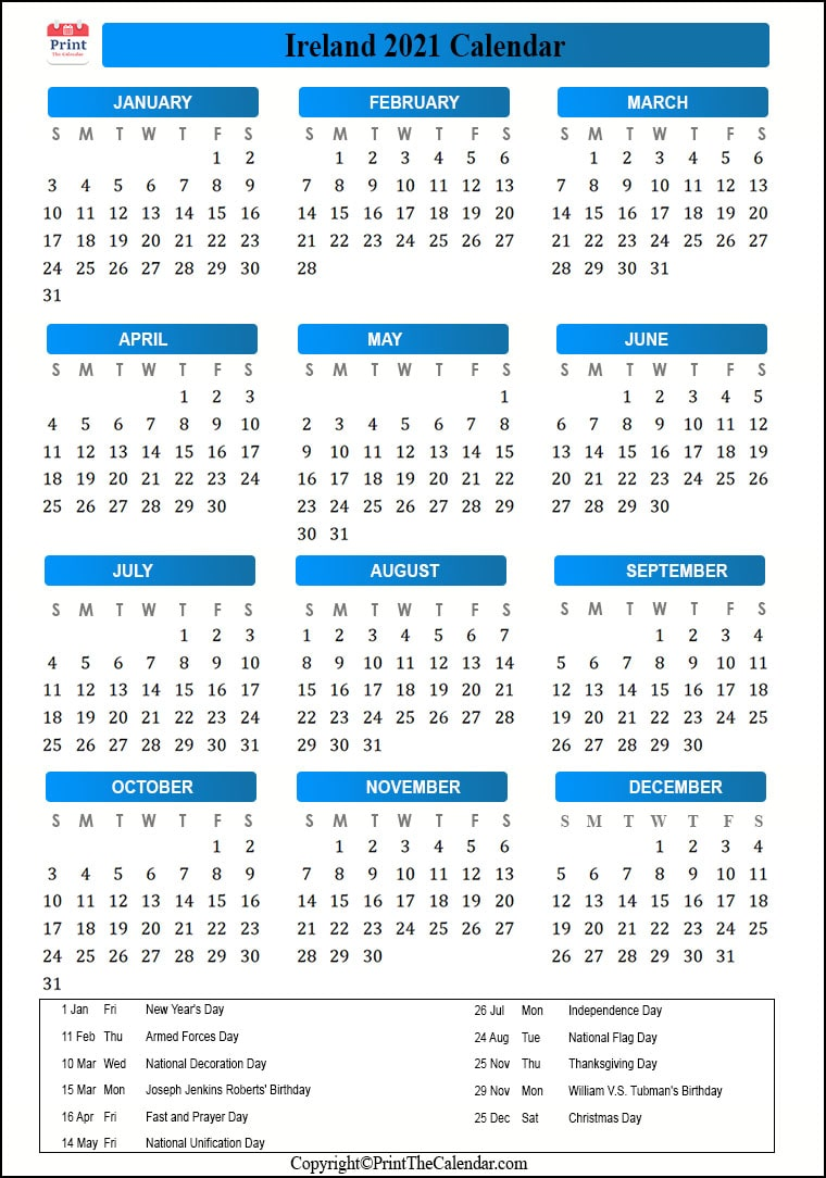 Ireland Holidays 2021 [2021 Calendar with Ireland Holidays]