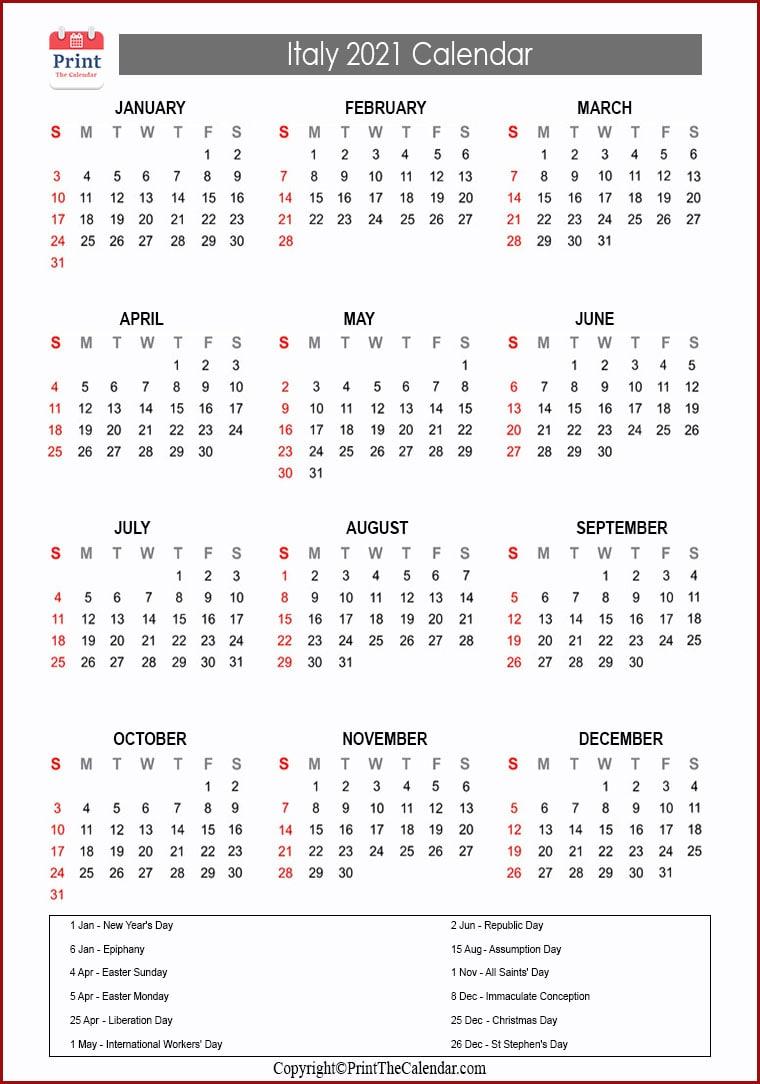 Italy Holidays 2021 2021 Calendar with Italy Holidays